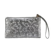 Women's Glitter Faux Leather Wristlet Clutch Purse Travel Toiletry Makeup Bag