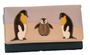 Mala Leather Medium Tri Fold Ollie Penguin Family Purse With RFID