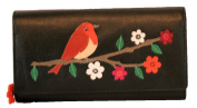 Mala Leather Large Robin Flap Over Purse Black With RFID Protection