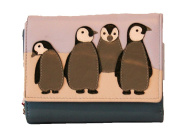 Mala Leather Compact Tri Fold Leather Ollie Penguin Family Purse With RFID
