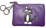 Luxury Black cat coin purse by Mala Leather teddy cat collection 4123 82 purple