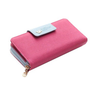 HCFKJ Ladies Zipper Wallet Long Magnetic Buckle Multi Card Holder Purse Bag Small Clutch Handbags
