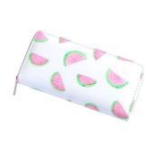 AAA226 Cute Flamingo Fruit Women Faux Leather Clutch Long Wallet Card Holder Purse - Watermelon