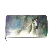 Womens White Horse Pattern Long Wallet & Purse Case Card Holder