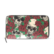 Womens Abstract Skulls And Roses Pattern Long Wallet & Purse Case Card Holder