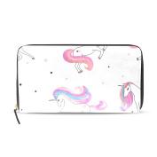 Womens Unicorns Pattern Long Wallet & Purse Case Card Holder