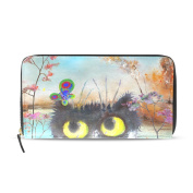 Womens Cat With Butterfly In Autumn Scenery Pattern Long Wallet & Purse Case Card Holder