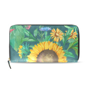Womens Watercolour Sunflowers And Green Leaves Pattern Long Wallet & Purse Case Card Holder