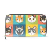 Womens Cute Cats Pattern Long Wallet & Purse Case Card Holder