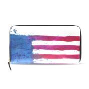 Womens Watercolour Flag America Pattern Long Wallet & Purse Case Card Holder