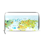 Womens Map Of The World With Animals Pattern Long Wallet & Purse Case Card Holder