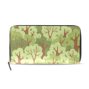 Womens Green Deciduous Forest Pattern Long Wallet & Purse Case Card Holder