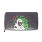 Womens Sugar Skull Girl With Flower Pattern Long Wallet & Purse Case Card Holder