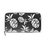 Womens Black And White Scartoon Sketch Pineapples Pattern Long Wallet & Purse Case Card Holder