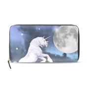 Womens Unicorn Moon Pattern Long Wallet & Purse Case Card Holder