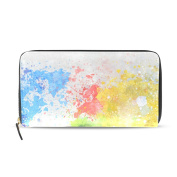 Womens World Map Painting Pattern Long Wallet & Purse Case Card Holder