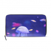 Womens Underwater World Fish Aquarium Pattern Long Wallet & Purse Case Card Holder