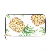 Womens Pineapple Watercolour Exotic Tropical Pattern Long Wallet & Purse Case Card Holder