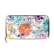Womens Skull And Roses Pattern Long Wallet & Purse Case Card Holder