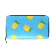Womens Summer Pineapples Blue Pattern Long Wallet & Purse Case Card Holder