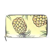 Womens Pineapple Tropical Jungle Pattern Long Wallet & Purse Case Card Holder