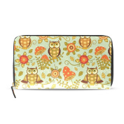 Womens Cute Flowers And Owls Pattern Long Wallet & Purse Case Card Holder