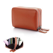 YOMYM Leather Purse Card Wallet Both Men and Women Apply Credit Card Wallet with 2 Metal Zipper 10 Card Slots (Marron)
