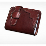 MuLier Vegetable Tanned Leather Credit Card Holder with 20 Card Slots