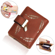 Mini Wallet for Women, Bonice Ladies Multi-functional Horizontal Bifold Clutch Zipper PU Leather Purse Multi Card Organiser Wallet Hollowed Leaves Coins Bag Exquisite Pouch Short Small Card Holder Case - Coffee