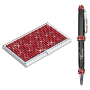 Soleebee High-end Bling Rhinestones Stainless Steel Name Card Holder Credit Card Case with Stainless Steel Ballpoint Pen - Red