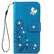 Huawei Honour 9 Case,Honour 9 Cases,Fashion Handmade 3D Bling Diamond PU Leather Stand Flip Case Cover With Card Holder Folio Wallet Case for Huawei Honour 9
