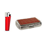 Red croc effect tobacco tin with Clipper lighter