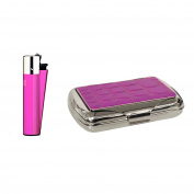 Pink croc effect tobacco tin with Clipper lighter