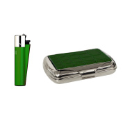 Green croc effect tobacco tin with Clipper lighter