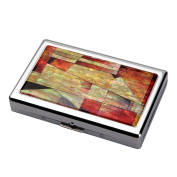 Mother of Pearl Red Pink Blue Colourful Patchwork Mosaic Extra Long 100S Super Slim King Size 16 Cigarette Engraved Metal Steel RFID Blocking Protection Credit Business Card US Bill Currency Cash Holder Case Storage Box