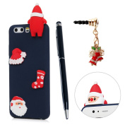 HUAWEI P10 Christmas Case, STXMALL 3D Santa Claus Pattern Shockproof Protective Case Slim Fit Soft TPU Silicone Gel Cover Skin Saver with Stylus Pen & Dust Plug for HUAWEI P10