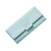 Gotoole Women Faux Leather Trifold Long Solid Colour Wallet Multicard Slots Clutch Purse