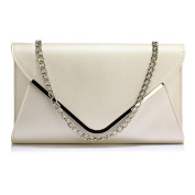 Womens Large Size Clutch Purse Envelope Look Faux Leather Ladies Handbag Designer With Chain