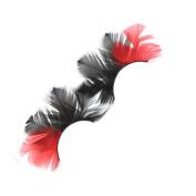 MENRY Red Black Colour Feather False Eyelashes, Masquerade Ball Stage Special False Eyelashes