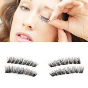 YUOIOYU 3 Magnet False Eyelashes Full Strip 3D Magnetic Eyelashes Hair Reusable Fake Eye Lashes