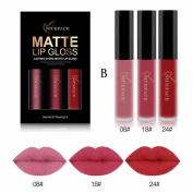 JACKY-Store 3Pcs Waterproof Matte Liquid Lipstick Cosmetic Lip Gloss Kit