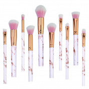 Pink Make Up Brushes Professional 10 Pieces Marble Pattern Makeup Brushes Set Foundation Blush Powder Eyeshadow Blending Brushes Cosmetic Brush Kit by Lark Bird