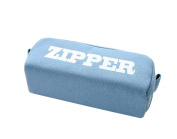 Korean Letter Paper Large Capacity Large Zipped Drawihi Simple Canvas Paper Pencil Case Pencil bag male and female students 20.5 X 8.5 X 7CM blue