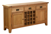 Hollyberry Home 3 Drawer 2 Door Wine Table, Wood, Oak, 40 x 150 x 80 cm