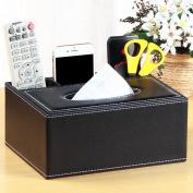 Yimu European-style Multi-functional Tissue Boxes Pumping Cartons Creative Storage Box Living Room Organisation , Wood + Leather , Black B