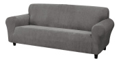 Kathy Ireland Home Day Break Loveseat Slipcover, Fits Loveseats from 99cm to 243cm wide, Made of Pique Knitted Stretch Fabric- Charcoal