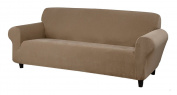 Kathy Ireland Home Day Break Loveseat Slipcover, Fits Loveseats from 99cm to 243cm wide, Made of Pique Knitted Stretch Fabric- Beige