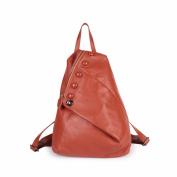 Leather female bag Double shoulder Baotou layer cowhide handbag fashion casual retro bag, 29*16*36cm