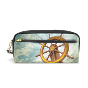 COOSUN Ships Wheel Portable PU Leather Pencil Case School Pen Bags stationery Pouch Case Large Capacity Makeup Cosmetic Bag