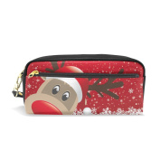 COOSUN Reindeer Red Hat Snow Snowflake Portable PU Leather Pencil Case School Pen Bags stationery Pouch Case Large Capacity Makeup Cosmetic Bag